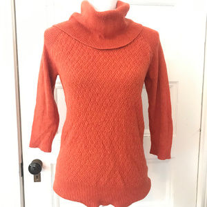 Express Cotton Orange Raglan Cowl Neck Sweater